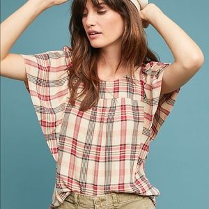 Anthropologie Priscilla Plaid Blouse